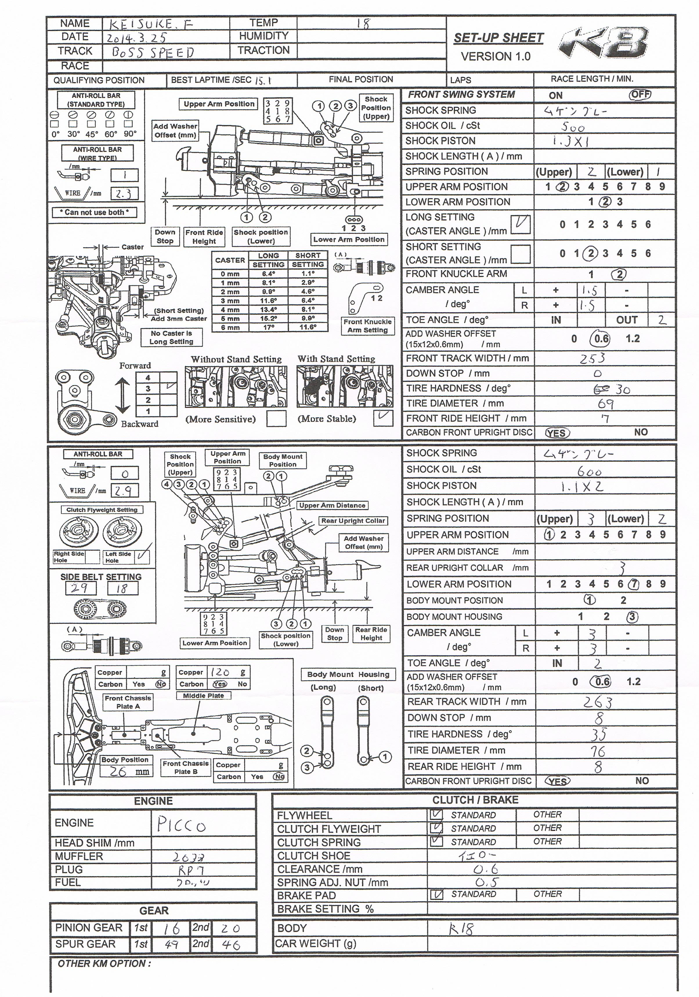 KM K8 Setting Sheet and Instruction Manual « KM Group